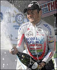 Fred Rodriguez celebrates winning the ninth stage