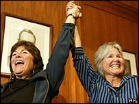 Marcia Kadish and Tanya McCloskey after becoming the first gay couple to be married in Cambridge