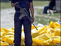 A guard at the Honduran prison