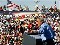 George W Bush at a rally in Waterloo, Iowa