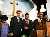 John Kerry with Jesse Jackson and Al Sharpton (at pulpit)