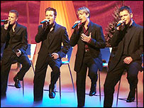 Westlife performing on a BBC show in 2001