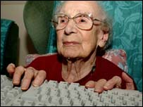 Pensioner using keyboard, PA
