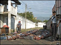 The bodies of some of the victims lie in the prison grounds
