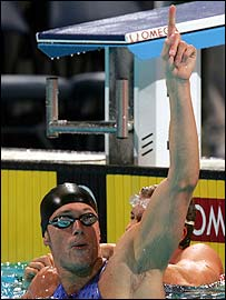 Mark Foster celebrates his 50m freestyle victory at the World Short Course Championships in Indianapolis