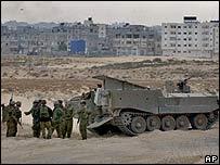 Tropas israelíes en Rafah.