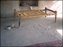 Bed in the south room, Daruntah, Eastern Afghanistan, April 2003