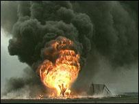 Burning oil well in Kuwait