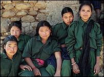 Shushila Magar (centre) with her friends
