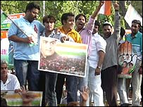 Sonia Gandhi supporters outside her residence