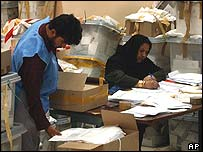 Election workers sort ballot papers in Kabul
