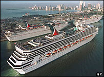 Carnival cruise line ships docking in Miami