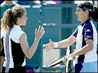 Patty Schnyder (left) and Conchita Martinez