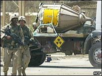 US troops guard canister containing traces of uranium