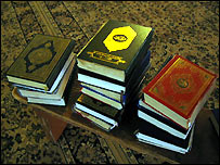 Copies of the Koran and other Muslim texts in an Islamic school