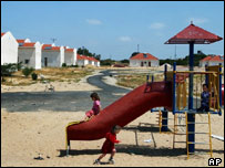Children play at Netzarim settlement in Gaza