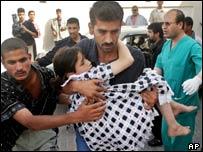 Palestinian girl wounded in an Israeli missile strike, Rafah, Gaza Strip, 2004