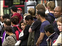 Commuters waiting at a bus stop