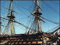 HMS Victory, Nelson's Flagship at the Battle of Trafalgar, seen as she is today open to visitors  at Portsmouth Dockyard