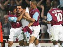 West Ham celebrate Etherington's goal