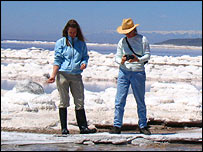 Bonnie Baxter (l) on Great Salt Lake, BBC