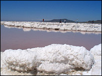 Slab of salt on the edge of the Great Salt Lake, BBC