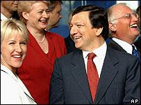 European Commission President-designate Jose Manuel Durao Barroso (centre) with new commissioners