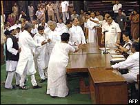 Congress MPs beg Mrs Gandhi (second from right) to reconsider