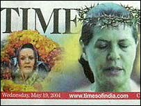 The Times of India's depiction of Sonia Gandhi as Christ