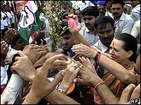 Congress President Sonia Gandhi in Mumbai