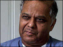 Krishna Maharaj speaking to Newsnight's Tim Samuels