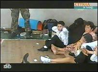 TV picture of hostages in Beslan school