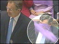 Purple flour flies past Blair