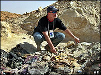 Investigator Greg Kehoe at the Hatra grave site