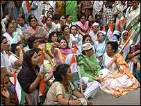 Supporters outside Sonia Gandhi's house in Delhi