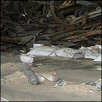 Scrap metal at the Bhushan Steel plant