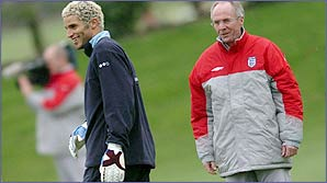 David James and Sven-Goran Eriksson share a joke