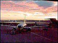 Planes at Reagan National Airport in the early morning
