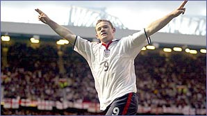 Wayne Rooney celebrates another England goal