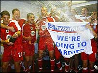 Bristol City players celebrate reaching the play-off final