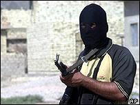 masked militant in Falluja