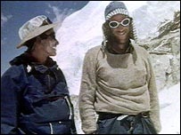 Tenzing Norgay and Edmund Hillary on Everest