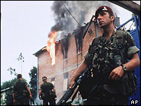 A British paratrooper in Kosovo