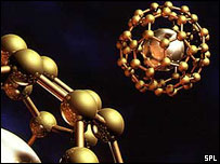 A buckminsterfullerene, a spherical cage of carbon atoms (Image: SPL)