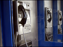Coin-fed call box phones