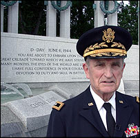 Major General J Milnor Roberts at the new World War II memorial in Washington