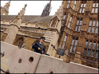 Security blocks at Palace of Westminster