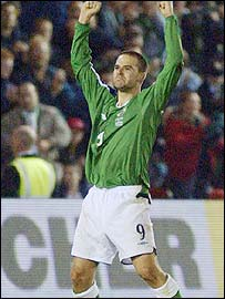 David Healy celebrates his brilliant goal for Northern Ireland against Austria