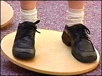 Balsall Common Primary School pupil on a wobbly board