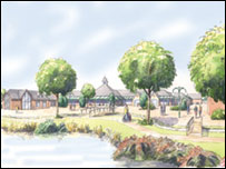 Artist's impression of the new village